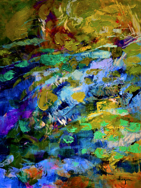 Large Abstract Water Painting, Canvas Print by Dorothy Fagan