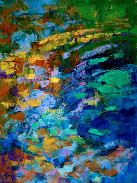 Oversize Blue Abstract Water Painting Canvas Print by Dorothy Fagan