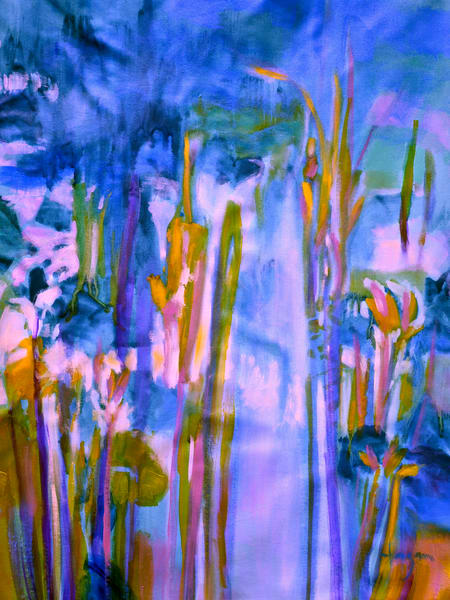 Oversize Water Lily Painting on Canvas by Dorothy Fagan