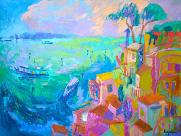 Stunning Amalfi Coast Panting Enchanted Art Print by Dorothy Fagan