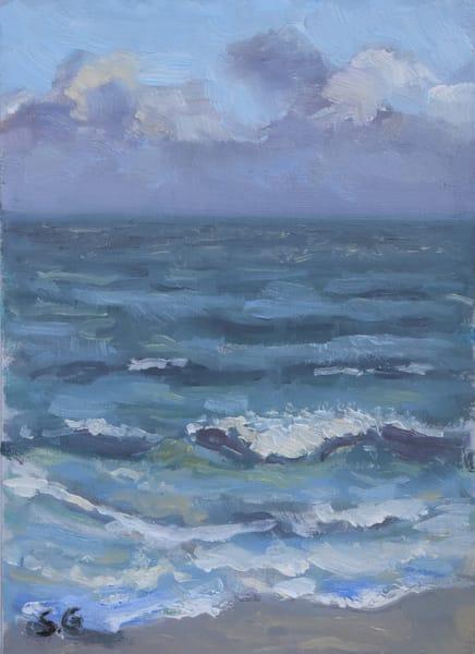 Waves And Foam   Original Oil On Paper Art | Sharon Guy