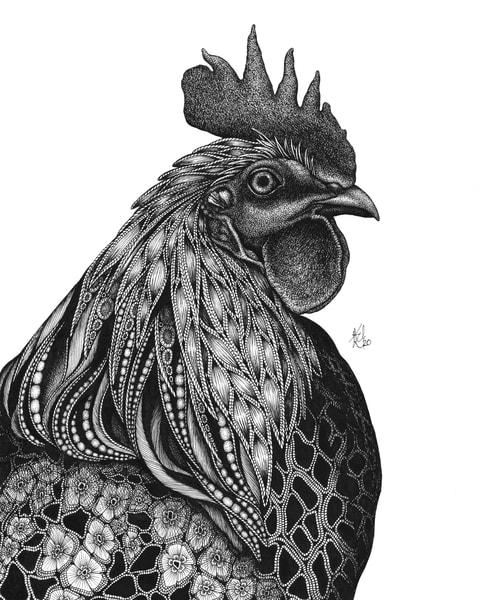 "Monsieur Coque A. Doodledoo | Kristin Moger ""Seriously Fun Art"""