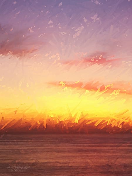 """Sunset Hike at Torrey Pines"" - digital painting photograph"