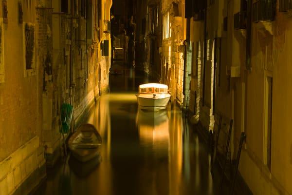 Boat at Night, Venice, Italy
