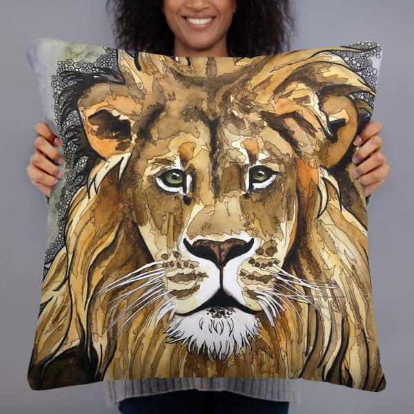 Lion Pillow | Water+Ink Studios