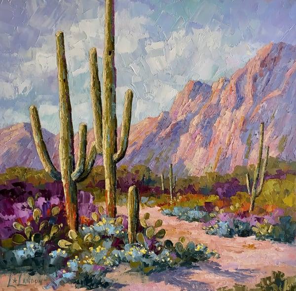 Desert, Sonoran Desert, Saguaro, Desert landscape, Palette Knife Oil Painting,