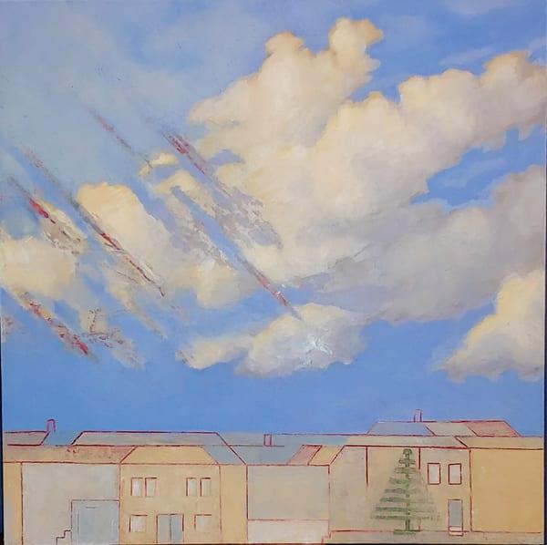 original art, oil painting, clouds, houses, storm