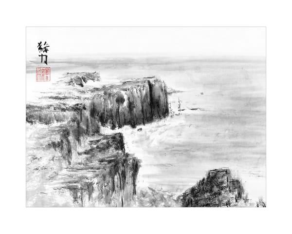 Black & white ink Beach One art print in sumi-e tradition.