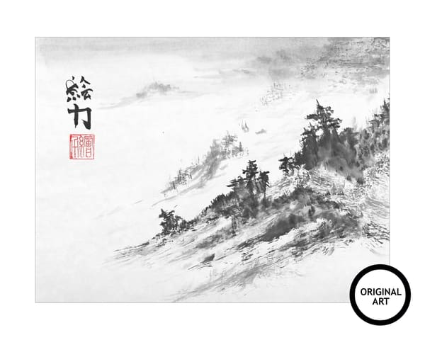 hombretheartist, original, sumi-e, ,mountain, one