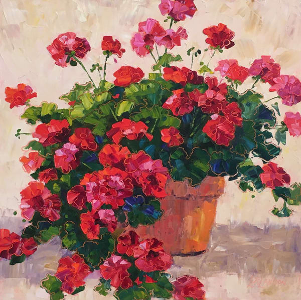There's Just Something About Red Geraniums In A Terra Cotta Pot Art | Linda Star Landon Fine Art