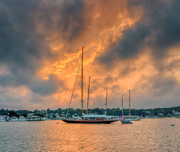 Vineyard Haven Harbor Fire Sky Art | Michael Blanchard Inspirational Photography - Crossroads Gallery