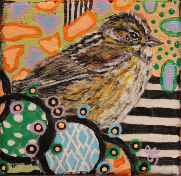 Colorful print of a little brown bird by Jennifer Ferris