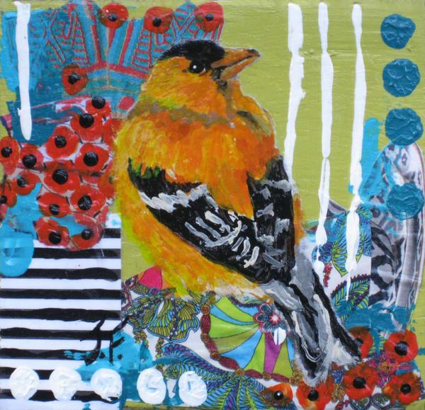 "Print Of ""Goldfinch In Orange"" Art | Jennifer Ferris"