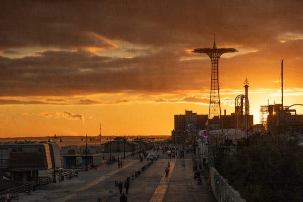Coney Island, Brooklyn, New York, NYC, sunset, orange