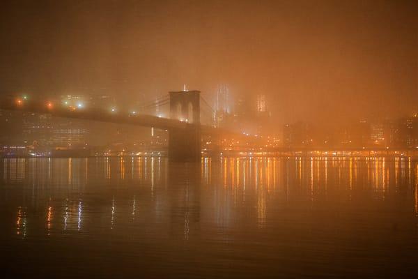 Foggy, fog, Brooklyn Bridge, NYC, New York, reflections