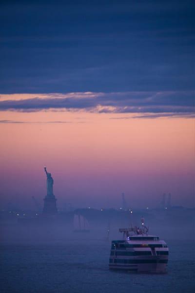 New York, NYC, NY Harbor, blue, pink, sunset