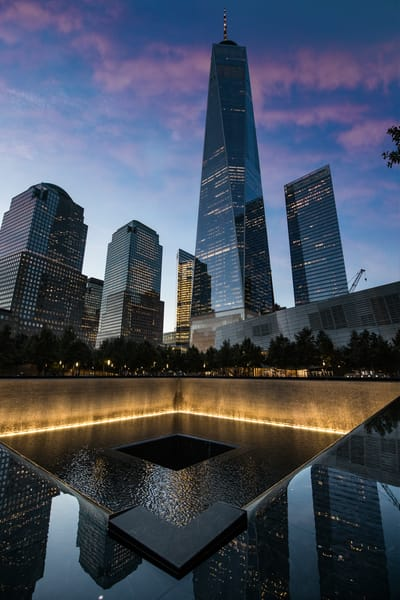 9/11 memorial, reflections, NYC