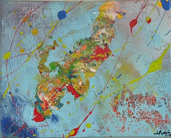 Deanna Gray Mathis - original artwork - abstract - bright colors - Aerial