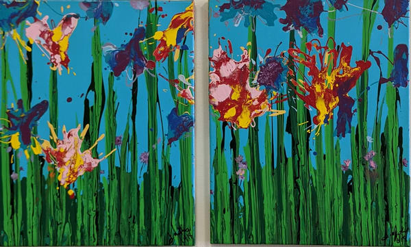 Deanna Gray Mathis - original artwork - acrylic - abstract - flowers - Magnified Magnificence