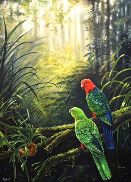 Shall We?   King Parrots Art | Ebony Bennett Fine Art