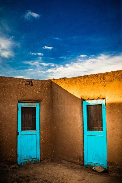 Blue doors, Taos Pueblo, architecture