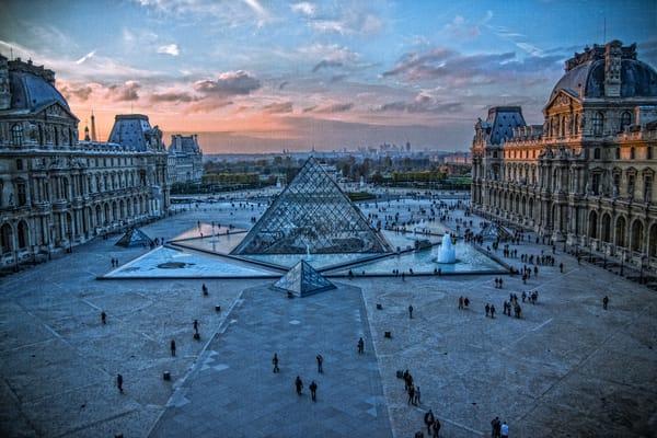 Louvre, cityscape, Paris, France, sunset, architecture