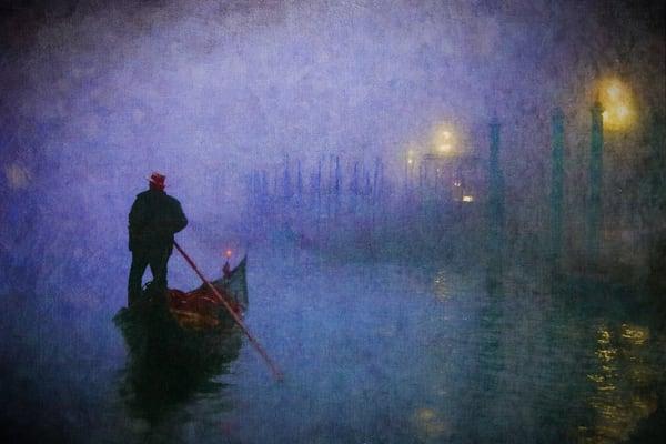Gondolier, Venice, Italy, fog, purple, violet, digital painting