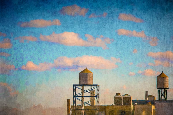 wall art, photo art, photography, New York, NYC, blue sky, clouds, cityscape, landscape, Brooklyn