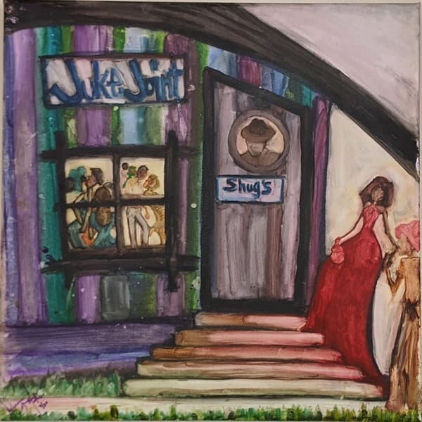 Deanna Gray Mathis - original artwork - watercolor - African American Art - The Color Purple - Welcome to Shug's