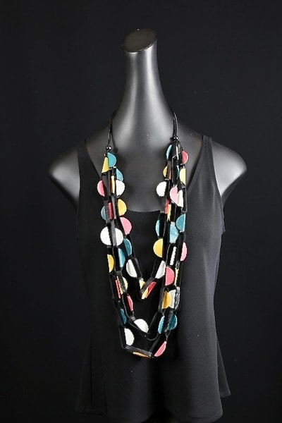 Multi Color Leather Necklace Art | Martsolf Lively Contemporary