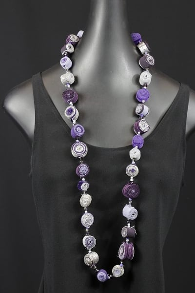 Purple & Silver Fabric Rollup Art | Martsolf Lively Contemporary