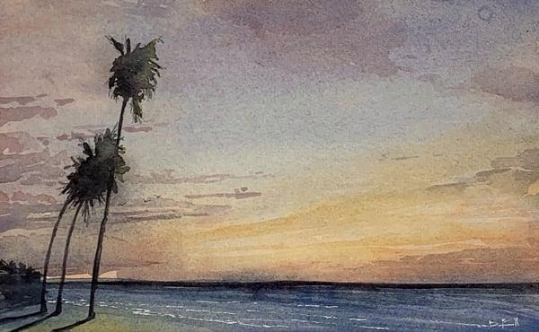 maui, watercolor, sunset, ocean, olowalu