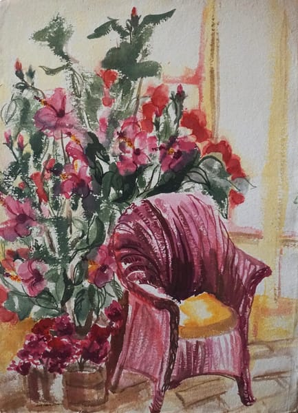 lila irving wicker chair watercolour
