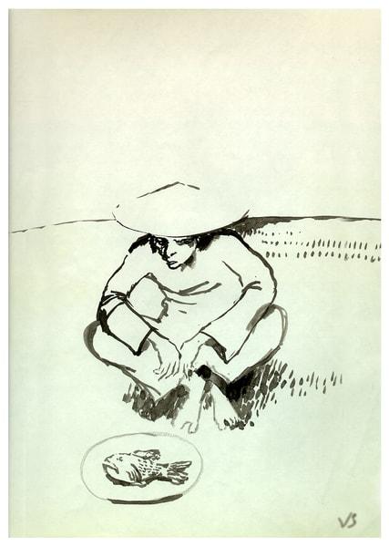 Vietnam Man With Fish Art | Scheihagen Art