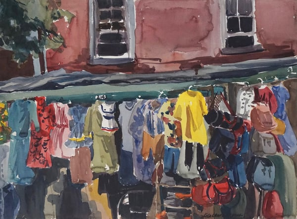 Watercolour on Paper lila lewis irving market shapes