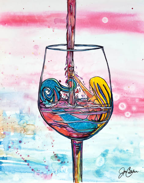 Mermaid Rose Wine  Art | jenartworkgallery