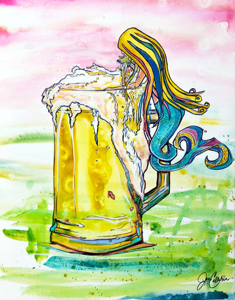 Mermaid Tipsy Beer Art | jenartworkgallery