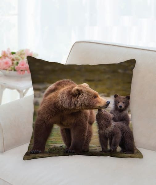 Pillow: 'coastal Brown Bear With Her Two Cubs' 18x18   Carol Brooks Parker Fine Art Photography