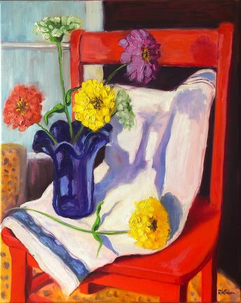 Zinnias, A Blue Vase, And A Red Chair Art | Rick Osborn Art