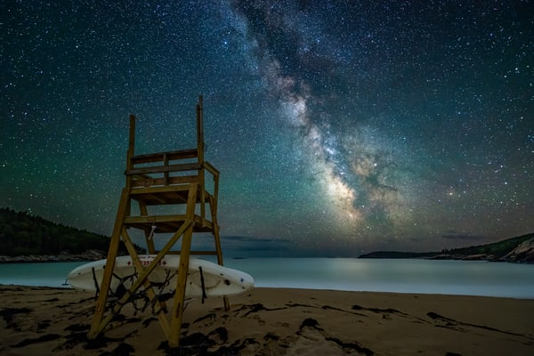 The Lifeguard's Tower At Night Photography Art | Carol Brooks Parker Fine Art Photography