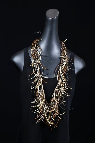 Shades Of Brown On Crimps & Copper Chain Art | Martsolf Lively Contemporary