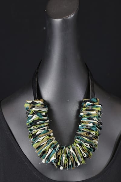 Green & Putty Fabric & Leather Art | Martsolf Lively Contemporary