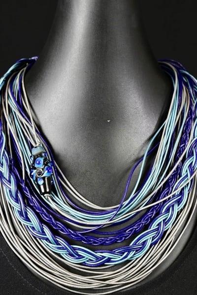 Aqua, Royal, Grey Leather With Custom Glass Bead Art | Martsolf Lively Contemporary