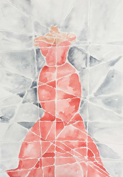 Lady In Red  Watercolor  Print Art | Anonymous Art Studios