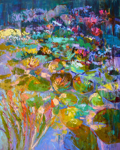 Oversize Waterlilies Canvas Painting by Dorothy Fagan