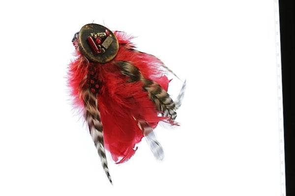 Red Brown Feather With Wood Pin/Brooch Art | Martsolf Lively Contemporary