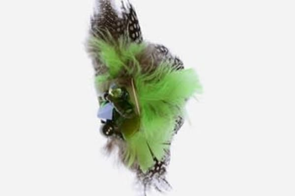 Green, Brown, Black, White Feather & Beads Pin/Brooch Art | Martsolf Lively Contemporary