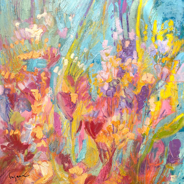 Coral & Turquoise Abstract Painting by Dorothy Fagan