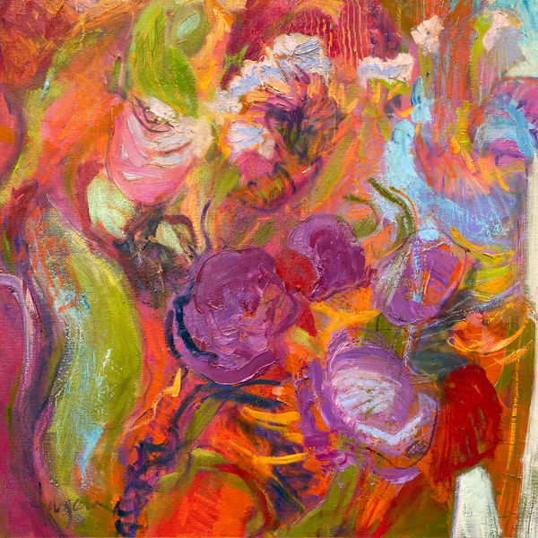 Red Abstract Painting Flourishing Grace I by Dorothy Fagan