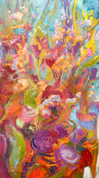 Oversize Red Floral Abstract Painting Canvas by Dorothy Fagan